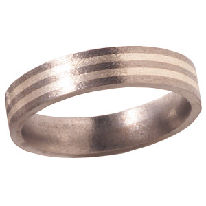 Titanium 6mm Stone Finish Wedding Band with Sterling Silver Inlays