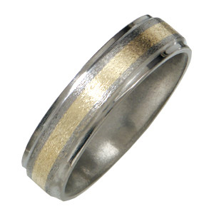 6mm Titanium Band with 14kt Yellow Gold Inlay and Flat Grooved Edges