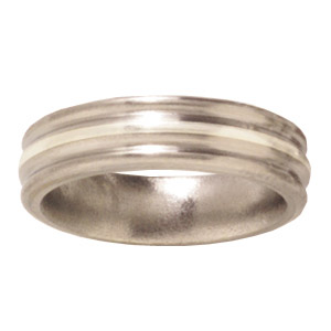 Titanium 6mm Satin Wedding Band Sterling Silver Inlay Rounded Edges