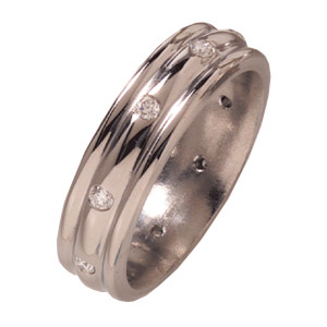 6mm Titanium Band with Diamonds and Rounded Edges