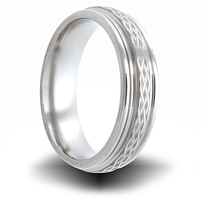 Weave Pattern Titanium 6mm Step Down Edge Ring
