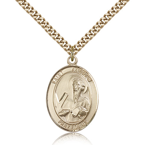 Gold Filled 1in St Andrew Medal & 24in Chain