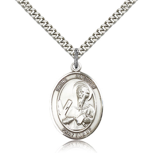 Sterling Silver 1in St Andrew Medal & 24in Chain