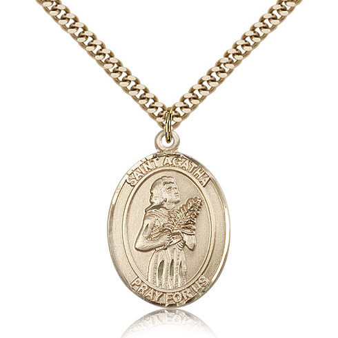 Gold Filled 1in St Agatha Medal & 24in Chain