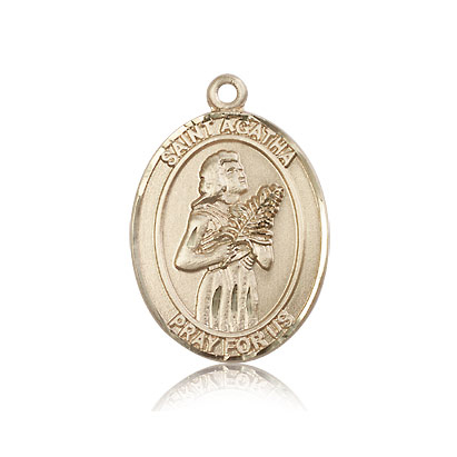 14kt Yellow Gold 1in St Agatha Medal