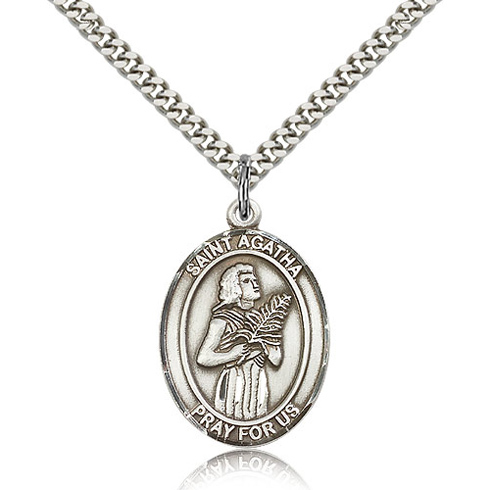 Sterling Silver 1in St Agatha Medal & 24in Chain