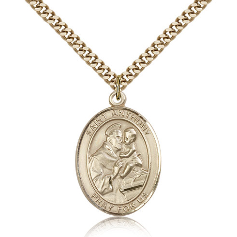 Gold Filled 1in Oval St Anthony Medal & 24in Chain