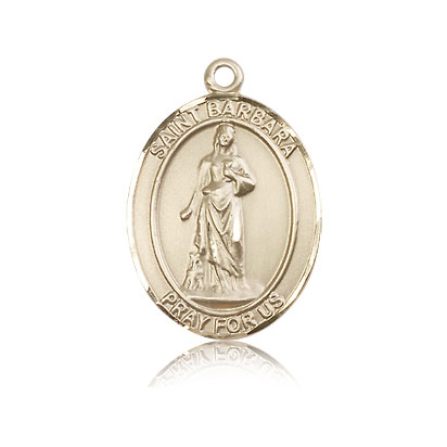 14kt Yellow Gold 1in St Barbara Medal