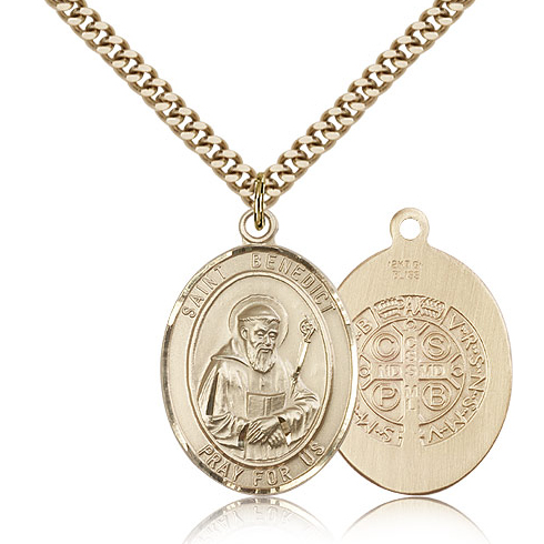 Gold Filled 1in Oval St Benedict Medal & 24in Chain