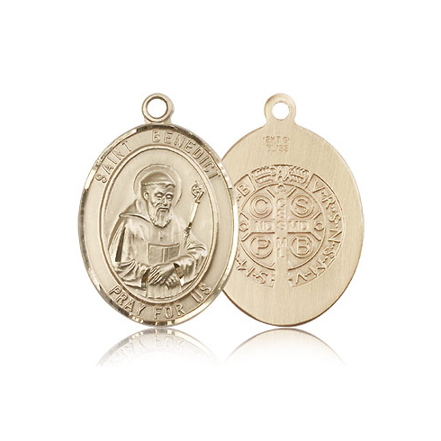 14kt Yellow Gold 1in St Benedict Medal