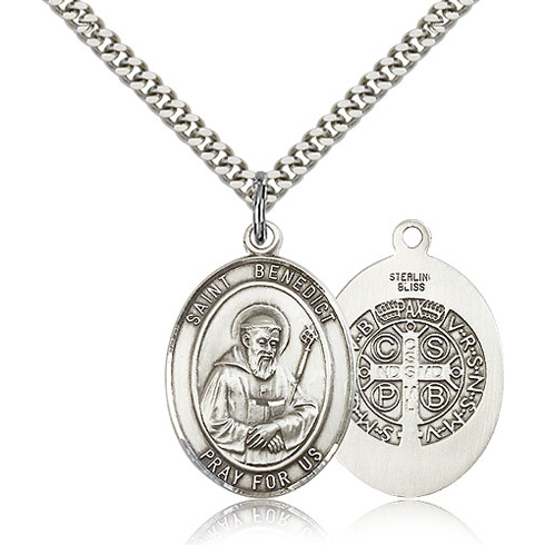 Sterling Silver 1in St Benedict Medal & 24in Chain