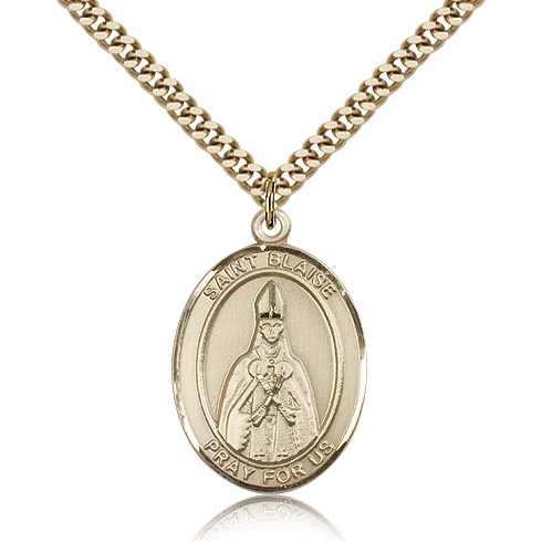 Gold Filled 1in St Blaise Medal & 24in Chain