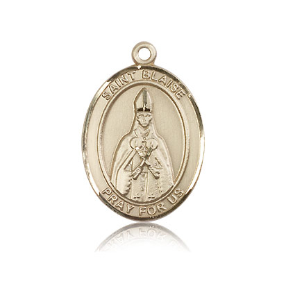 14kt Yellow Gold 1in St Blaise Medal