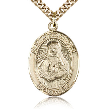 Gold Filled 1in St Frances Cabrini Medal & 24in Chain