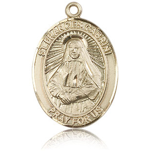 14kt Yellow Gold 1in St Frances Cabrini Medal