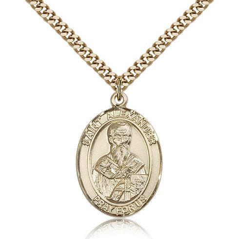 Gold Filled 1in St Alexander Medal & 24in Chain