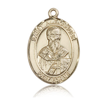 14kt Yellow Gold 1in St Alexander Medal