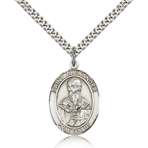 Sterling Silver 1in St Alexander Medal & 24in Chain