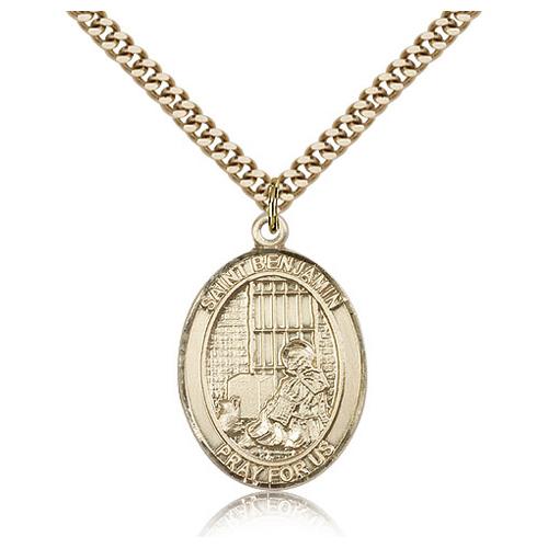 Gold Filled 1in St Benjamin Medal & 24in Chain