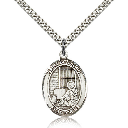 Sterling Silver 1in St Benjamin Medal & 24in Chain