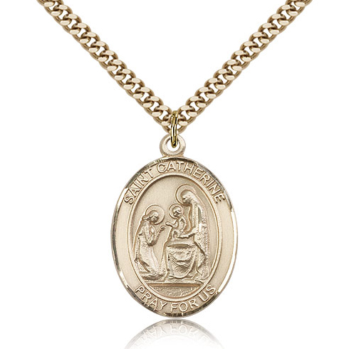 Gold Filled 1in St Catherine of Siena Medal & 24in Chain