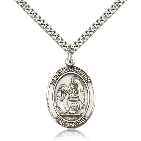 Sterling Silver 1in St Catherine of Siena Medal & 24in Chain