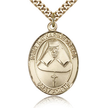 Gold Filled 1in St Katharine Drexel Medal & 24in Chain