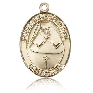 14kt Yellow Gold 1in St Katharine Drexel Medal