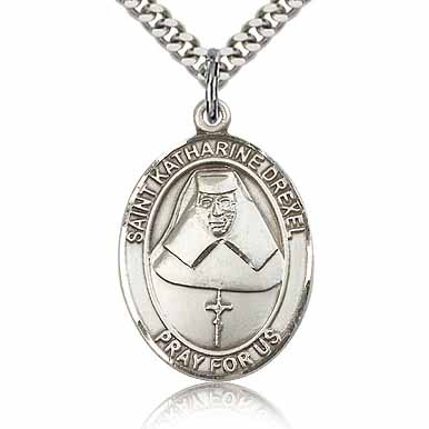 Sterling Silver 1in St Katharine Drexel Medal & 24in Chain