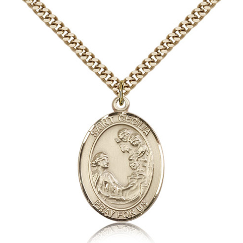 Gold Filled 1in St Cecilia Medal & 24in Chain