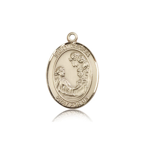 14kt Yellow Gold 1in St Cecilia Medal