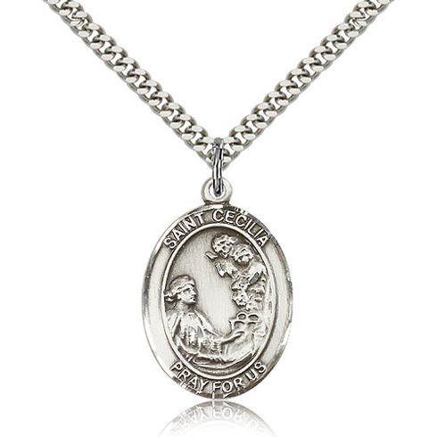 Sterling Silver 1in St Cecilia Medal & 24in Chain
