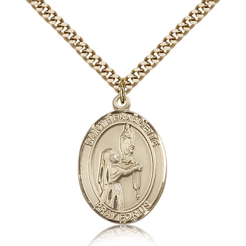 Gold Filled 1in St Bernadette Medal & 24in Chain