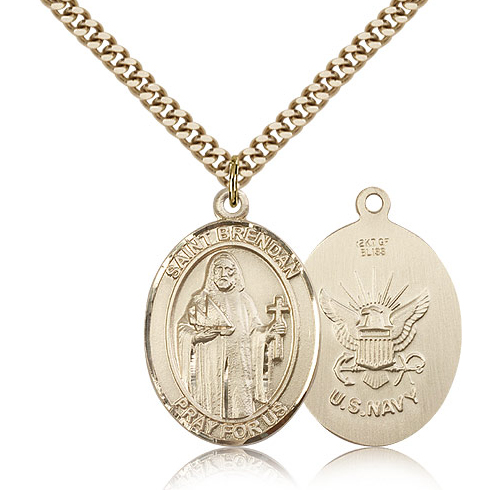 Gold Filled 1in St Brendan Navy Medal & 24in Chain