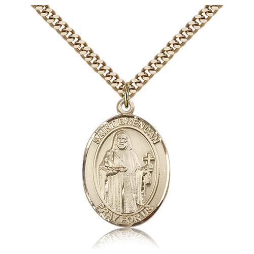 Gold Filled 1in St Brendan Medal & 24in Chain