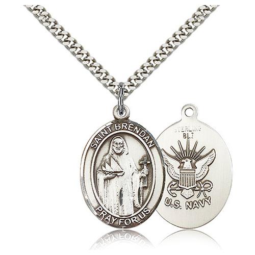 Sterling Silver 1in St Brendan & Navy Medal & 24in Chain