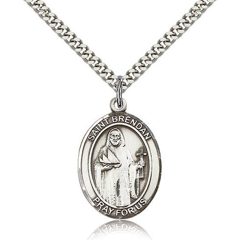 Sterling Silver 1in St Brendan Medal & 24in Lobster Clasp Silver Chain