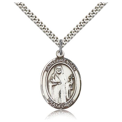 Sterling Silver 1in St Brendan Medal & 24in Chain