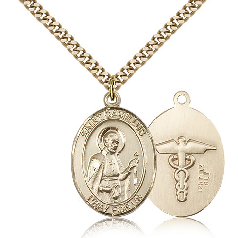 Gold Filled 1in St Camillus Nurse Medal & 24in Chain