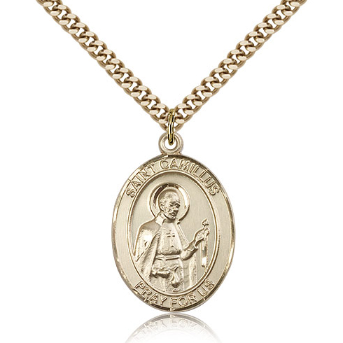 Gold Filled 1in St Camillus Medal & 24in Chain