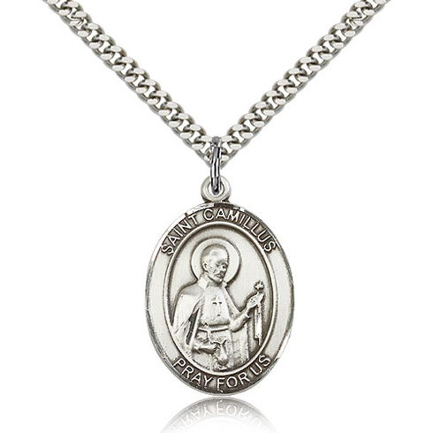 Sterling Silver 1in St Camillus Medal & 24in Chain