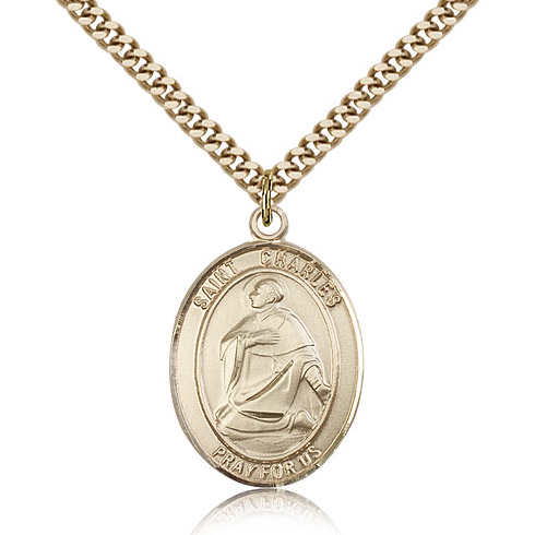 Gold Filled 1in St Charles Medal & 24in Chain