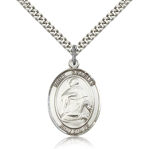 Sterling Silver 1in Oval St Charles Medal & 24in Chain