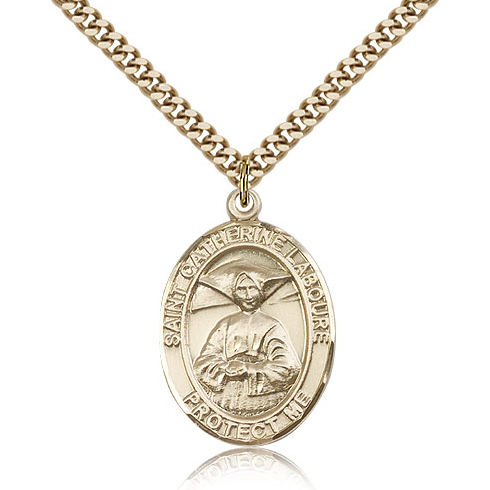 Gold Filled 1in St Catherine Laboure Medal & 24in Chain