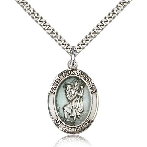 Sterling Silver 1in Blue St Christopher Medal & 24in Chain
