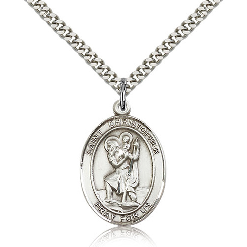 Sterling Silver 1in Oval St Christopher Medal & 24in Chain