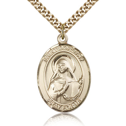 Gold Filled Oval 1in St Dorothy Medal & 24in Chain