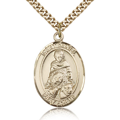 Gold Filled 1in St Daniel Medal & 24in Chain