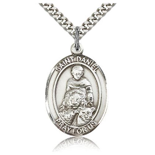 Sterling Silver 1in St Daniel Medal & 24in Chain