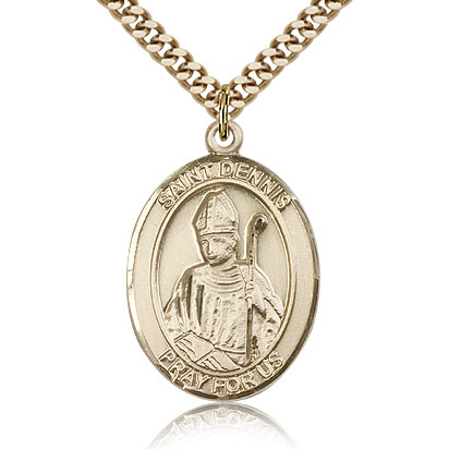 Gold Filled 1in St Dennis Medal & 24in Chain